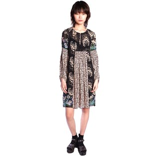 Wild Cherry Border Mixed Print Dress by Anna Sui