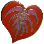 another view of Anthurium Heart Earrings by Laurel Burch