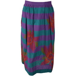 Aqua and Purple Striped Skirt with Large Pink Flowers