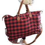 Buffalo Plaid Weekender Traveling Bag by Barbados Leather