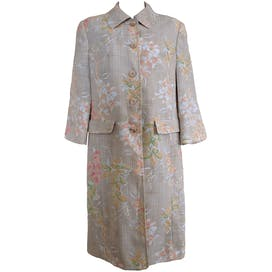 Beige Coat with Pastel Flower Print and Shoulder Pads by Amanda Smith