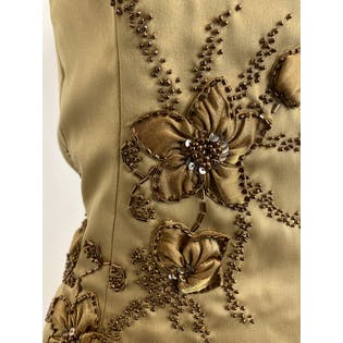 Gold Floral Beaded Strapless Blouse by Sandra Darren