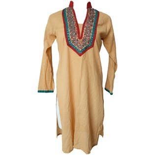 Beige Caftan with Red and Teal Embroidery