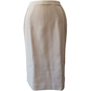 Beige Knit Pencil Skirt