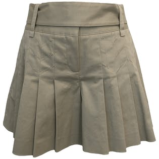Beige Pleated Shorts by Diane von Furstenberg