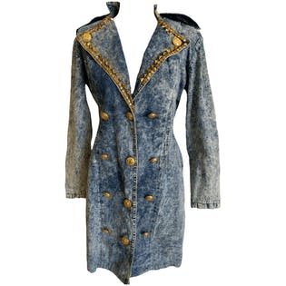 Bejeweled Neckline Double Breasted Denim Sailor Coat by Monique Fashions