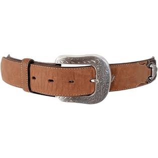 Tan Western Style Belt with Silver Buckle by Justin Belts