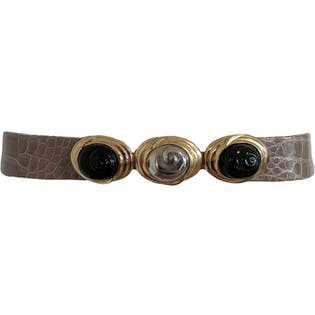Reptile Print Belt with Black and Metallic Buckle by Judith Leiber