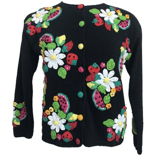 Black 3D Daisy and Fruit Knit Cardigan by Talbots Petites