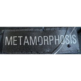 90's Black and Clear Beaded Abstract Print Blouse by Metamorphosus