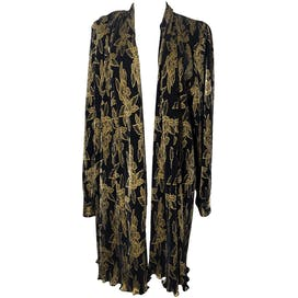 Black and Gold Floral Accordion Pleated Cardigan by Ls Connections