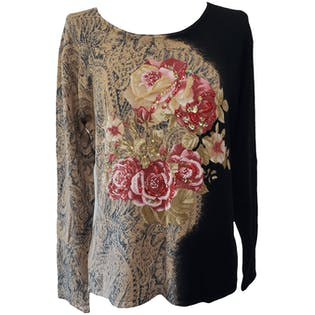 90's Black Floral Paisley Beaded Pullover Top by Pierri