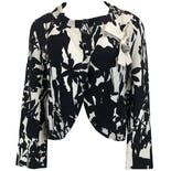 Black and White Silk Floral Print Jacket by Christian Lacroix