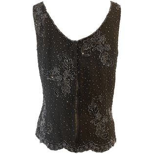 Black Beaded Tank Top by Drapers & Damons