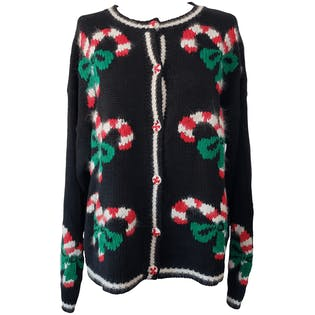 Black Button Up Cardigan with Candy Canes by Ninon De Lenelos