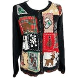 Black Christmas Patchwork Button Up Cardigan Sweater by Victoria Jones