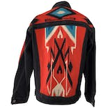 another view of Black Denim Jacket with Multicolor Geometric Print by Levi's
