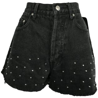 Black High Rise Fringed Shorts with Silver Studs by Ellemenno