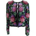 Black Jacket Embellished with Sequin Flowers by Laurence Kazar