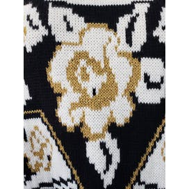 Black Knit Sweater with Floral White and Gold Detailing by Trimmings Plus