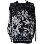 Black Knit Sweater with Large White Snowflakes by Jolie