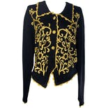 Black Knitted Cardigan with Yellow Embroidered Detailing by Cove Creek