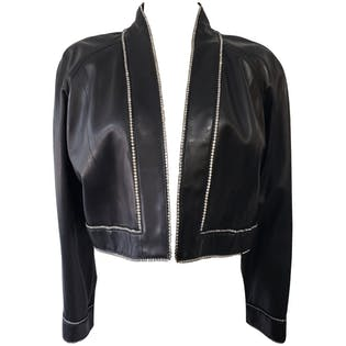 Black Leather Bolero with Crystal Trim by Charles Jourdan