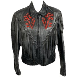 Black Leather Fringed Jacket with Red Rose Details