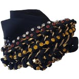 another view of Black Ribbon Belt with Multicolored Rhinestone Beading
