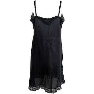 V-Neck Black Slip with Lace Bodice and Trim by Figurfit