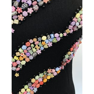 Black Knit and Multicolor Beaded Sleeveless Blouse by Cal Fashion