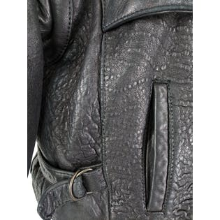 80's Black Textured Leather Moto Jacket by Banana Republic
