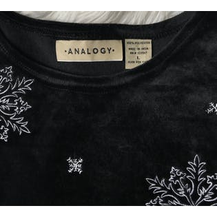 Black Velour Top with Snowmen by Analogy