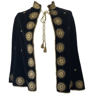 30's Black Velvet with Gold Zardozi Embroidered Palestinian Wedding Cape