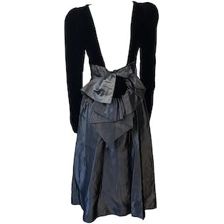 80's Black Velvet Top Gray Metallic Midi Skirt Dress