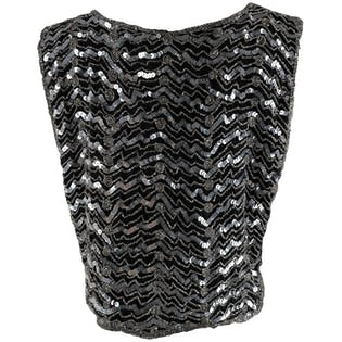 80's Black Beaded Silver Sequins Vest by At Once