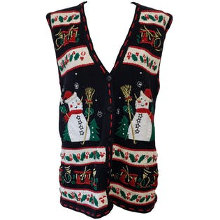 Black Vest with Snowmen and Holiday Embroidery by Bobbie Brooks