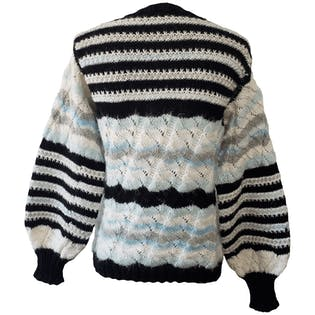Black White and Blue Striped Sweater with Metallic Threading