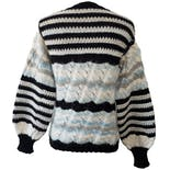 another view of Black White and Blue Striped Sweater with Metllic Threading