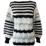 Black White and Blue Striped Sweater with Metllic Threading