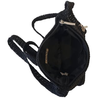 Black Woven Crossbody with Front Pocket by Cherokee