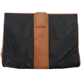 Black and Brown Flat Clutch by Fendi