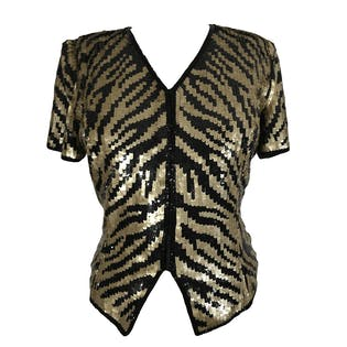 Black and Gold Sequin Top by Reggio