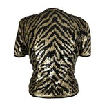 another view of Black and Gold Sequin Top by Reggio