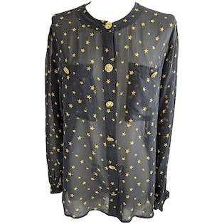 Black and Gold Star Buttoned Blouse by Gloria Sachs