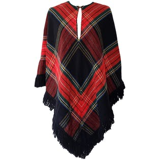 Black and Red Plaid Poncho by R&K Knits