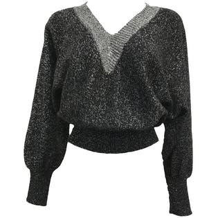 80's Black and Silver Lurex Cropped V-Neck Sweater