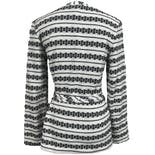 another view of Black and White Metallic Stripe Cardigan by Montgomery Ward