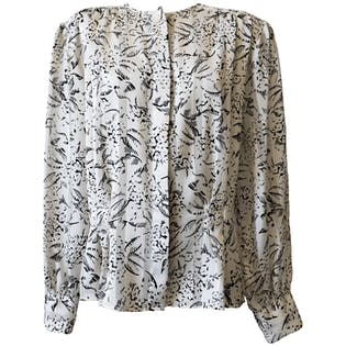 Black and White Print Sheer Blouse by Laura and Jayne