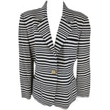 Black and White Striped Buttoned Blazer by Moschino